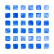 Blue color watercolor blank rounded square shapes - Stock Photo