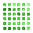 Green color watercolor blank rounded square shapes — Stock Photo