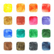 16 blank watercolor colored rounded square shapes web buttons on white background — Stock Photo