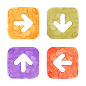 Arrow icon button with sign. Orange, green, violet, red isolated rounded square shape on white background. This image created in watercolor handmade technique. Web design element UI user interface — Stock Photo
