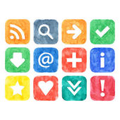 Colored watercolor handmade web 2.0 buttons set with popular internet sign on white background — Stock Photo