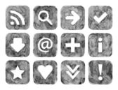 Grayscale color watercolor web buttons set with basic internet sign on white background. Aquarelle created in hand made technique. — Stock Photo