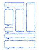 White and blue blank watercolor rounded rectangle shapes — Stock Photo