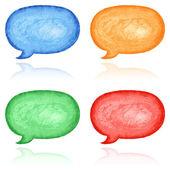 4 blank speech bubble dialog — Stock Photo