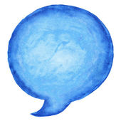 Blue watercolor blank speech bubble dialog circle shape white background — Stock Photo