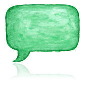 Green watercolor blank speech bubble dialog square shape on white background — Stock Photo