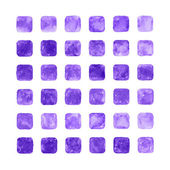 Violet color watercolor blank rounded square shapes web buttons on white background. — Stock Photo