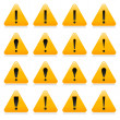 Yellow warning sign with exclamation mark symbol. Rounded triangle shape with color reflection on white background. 10 eps — Stock Vector