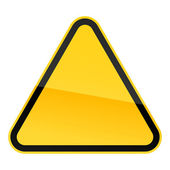 Simple blank yellow hazard warning sign on white — ストックベクタ