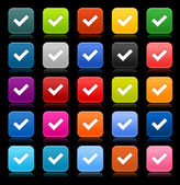 25 smooth satined web 2.0 button with check mark sign. Colored rounded square shapes with reflection on black background. This vector illustration saved in 8 eps — Stock Vector