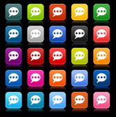 25 smooth satined web 2.0 button with chat room sign. Colored rounded square shapes with reflection on black background. This vector illustration saved in 8 eps — Stock Vector
