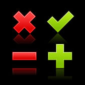 Satin web 2.0 button validation icons with color reflection on black background — Stock Vector