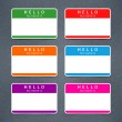 Empty badge name tag HELLO my name is — Stock Vector #43902521