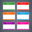 Empty badge name tag HELLO my name is — Stock Vector