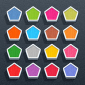 Blank pentagon button with painted texture — Stockvector