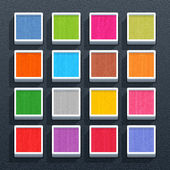 Blank square button with painted texture — Stock Vector