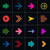 16 arrow pictogram set — Stock Vector