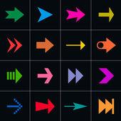 16 arrow sign pictogram set — Stock Vector