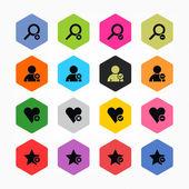 Loupe, user profile, star, heart, plus, delete, check mark, minus sign set — Stock Vector