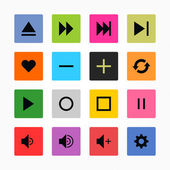 16 media icon set — Stock Vector