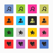 Loupe, user profile, star favorite — Stock Vector