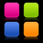 Colored rounded squares buttons — Stock Vector