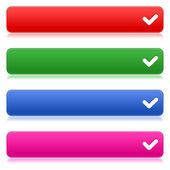 Colorful web buttons with check sign — Stock Vector