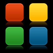 Colored rounded squares buttons — Vettoriale Stock
