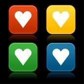 Heart sign on web internet buttons — Stock Vector