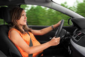 Pregnant Woman Driving a Car — Stock Photo