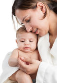 Mother holding Baby Playing — Stock Photo