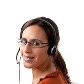 Call Center Agent looking back — Stock Photo