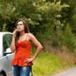 Broken Car - Young Woman Calls for Assistance — Stok fotoğraf