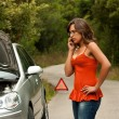 Broken Car - Young WomCalls for Assistance — Stock Photo #23710497