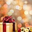 Stock Photo: Christmas present with decorative xmas bubbles and ribbon