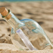 Found a bottle with a message near the shore — Stock Photo