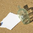Note found in a bottle at the beach (Write your won text) — 图库照片