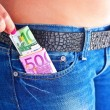 Girls Shows her money inside her Jeans Front Pocket — Stock Photo #23710741