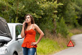 Broken Car - Young Woman Calls for Assistance — Stock Photo