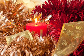 Cinta y luz de la vela de navidad — Foto de Stock
