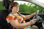Senior Woman Driving a Car — Stock Photo