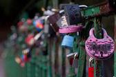 Love padlocks on bridge — Zdjęcie stockowe