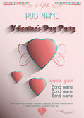 Valentine's Day Party 14 feb. Poster. vector — Стоковое фото