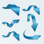 Conjunto de flechas azules 3d — Vector de stock