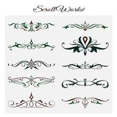 Scroll works Design, Ornamental decorative Elements — Stock Vector