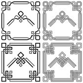 Collection of Celtic corner patterns — Stock Vector