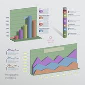 Color 3D infographic elements — Stok Vektör