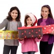 Little girls with a present — Stock Photo #23642893