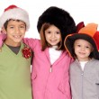 Kids in christmas hats — Stock Photo
