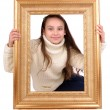 Little girl with a frame — Stock Photo